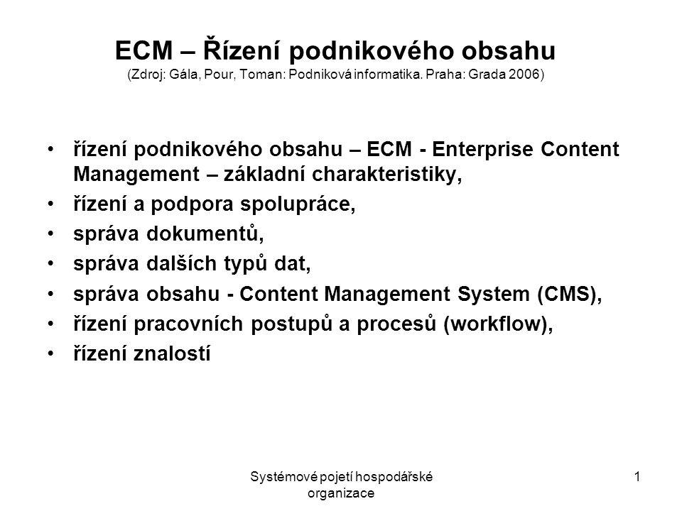 Systémové pojetí hospodářské organizace 1 ECM – Řízení podnikového obsahu (Zdroj: Gála, Pour, Toman: Podniková informatika.