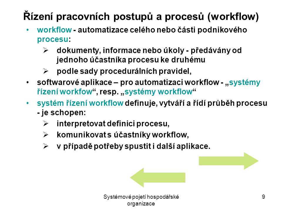 """Systémové pojetí hospodářské organizace 9 Řízení pracovních postupů a procesů (workflow) workflow - automatizace celého nebo části podnikového procesu:  dokumenty, informace nebo úkoly - předávány od jednoho účastníka procesu ke druhému  podle sady procedurálních pravidel, softwarové aplikace – pro automatizaci workflow - """"systémy řízení workfow , resp."""