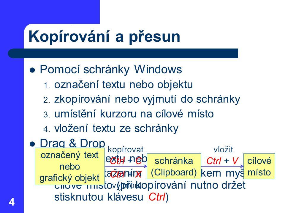 44 Kopírování a přesun Pomocí schránky Windows 1. označení textu nebo objektu 2. zkopírování nebo vyjmutí do schránky 3. umístění kurzoru na cílové mí