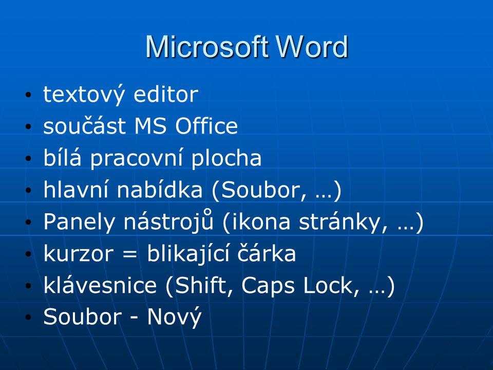 Microsoft Word textový editor součást MS Office bílá pracovní plocha hlavní nabídka (Soubor, …) Panely nástrojů (ikona stránky, …) kurzor = blikající čárka klávesnice (Shift, Caps Lock, …) Soubor - Nový