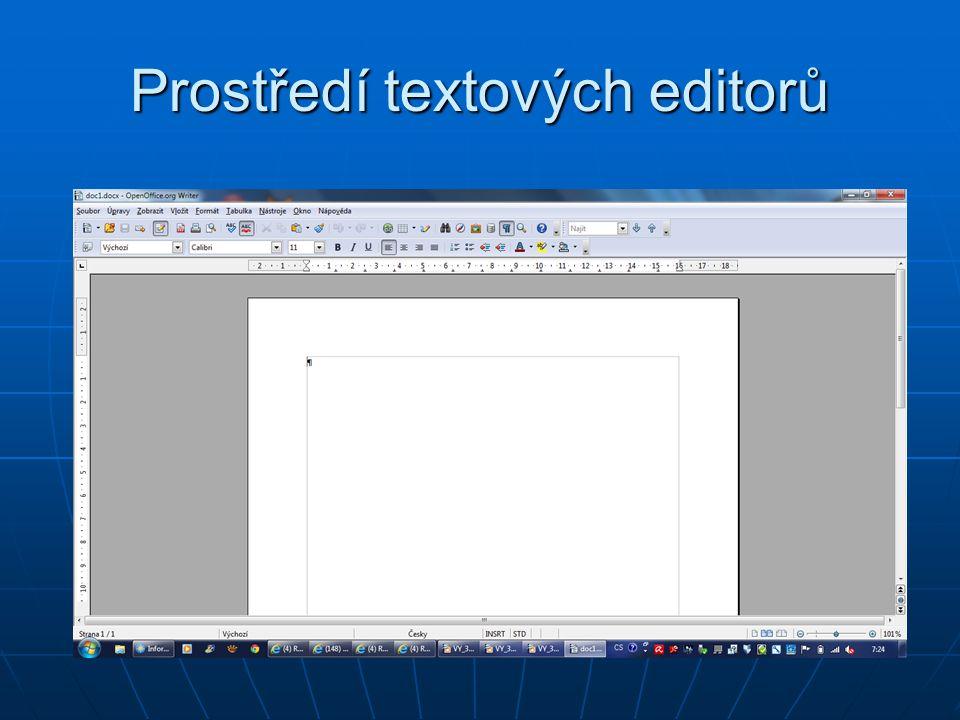 Prostředí textových editorů