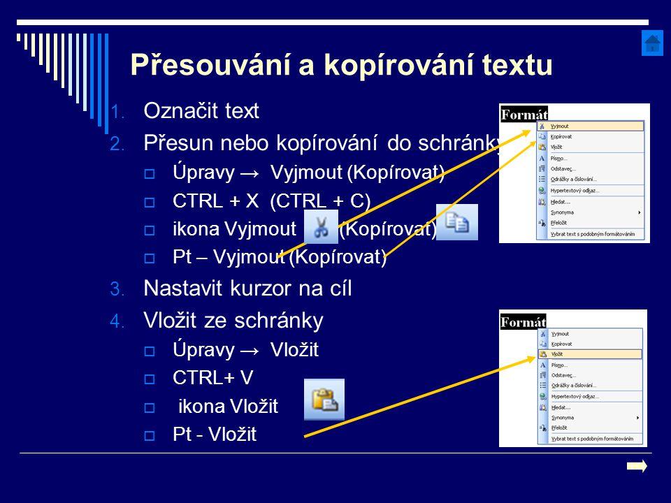 Přesouvání a kopírování textu 1. Označit text 2. Přesun nebo kopírování do schránky  Úpravy → Vyjmout (Kopírovat)  CTRL + X (CTRL + C)  ikona Vyjmo