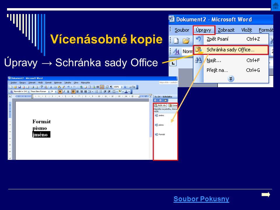 Vícenásobné kopie Úpravy → Schránka sady Office Soubor Pokusny
