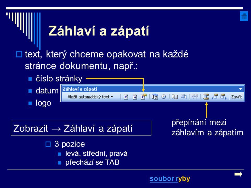 Záhlaví a zápatí  3 pozice levá, střední, pravá přechází se TAB Zobrazit → Záhlaví a zápatí  text, který chceme opakovat na každé stránce dokumentu,