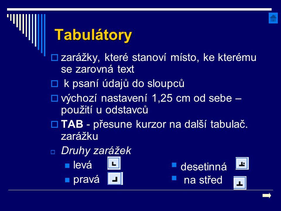 Tabulátory  zarážky, které stanoví místo, ke kterému se zarovná text  k psaní údajů do sloupců  výchozí nastavení 1,25 cm od sebe – použití u odsta