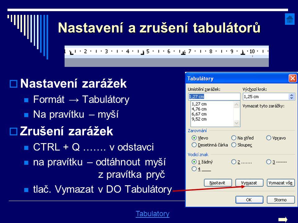 Nastavení a zrušení tabulátorů  Nastavení zarážek Formát → Tabulátory Na pravítku – myší  Zrušení zarážek CTRL + Q ……. v odstavci na pravítku – odtá