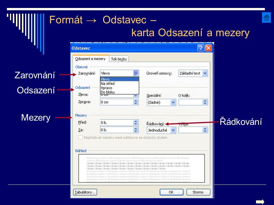 Formát → Odstavec – karta Odsazení a mezery Zarovnání Odsazení Mezery Řádkování