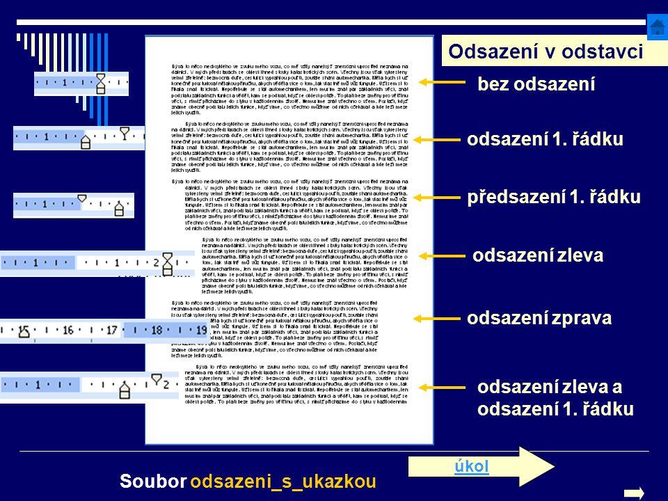 Odsazení v odstavci předsazení 1. řádku odsazení 1. řádku odsazení zprava odsazení zleva bez odsazení odsazení zleva a odsazení 1. řádku Soubor odsaze
