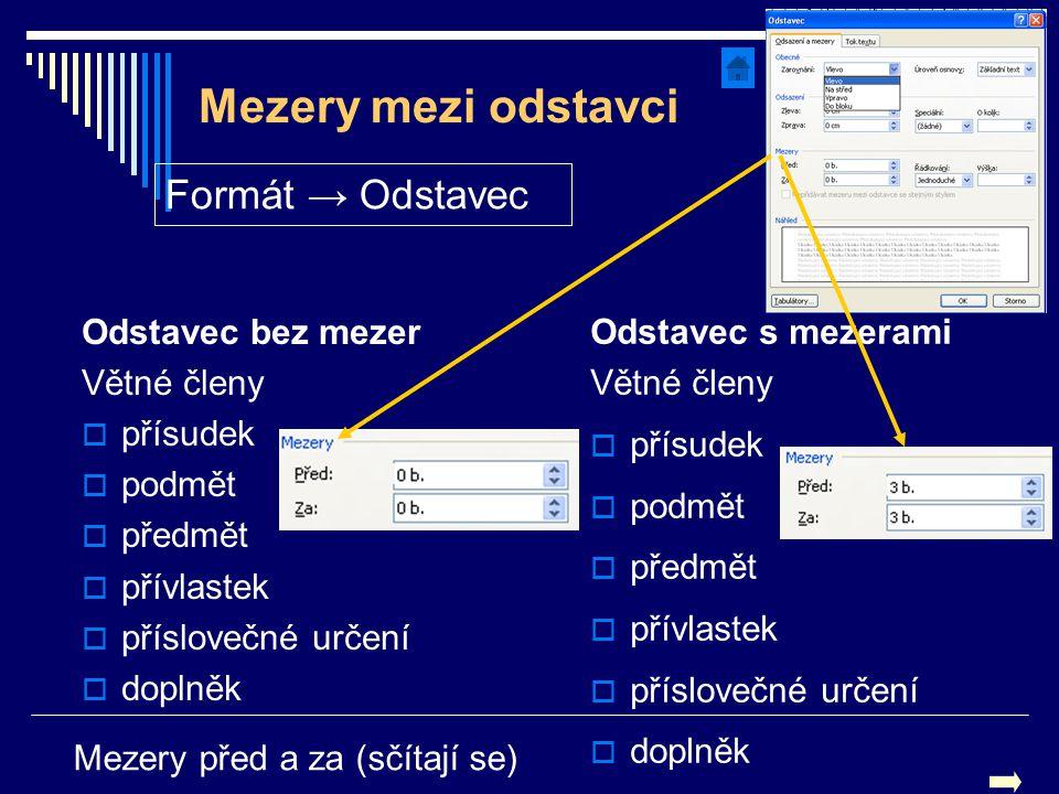 Mezery mezi odstavci Odstavec bez mezer Větné členy  přísudek  podmět  předmět  přívlastek  příslovečné určení  doplněk Odstavec s mezerami Větn