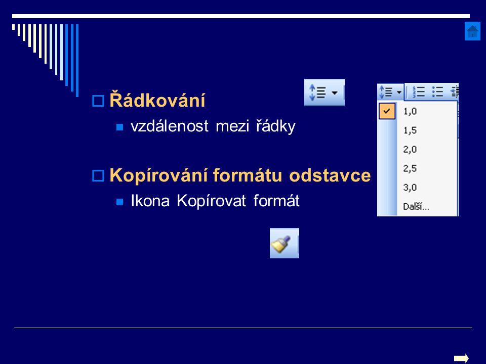  Řádkování vzdálenost mezi řádky  Kopírování formátu odstavce Ikona Kopírovat formát