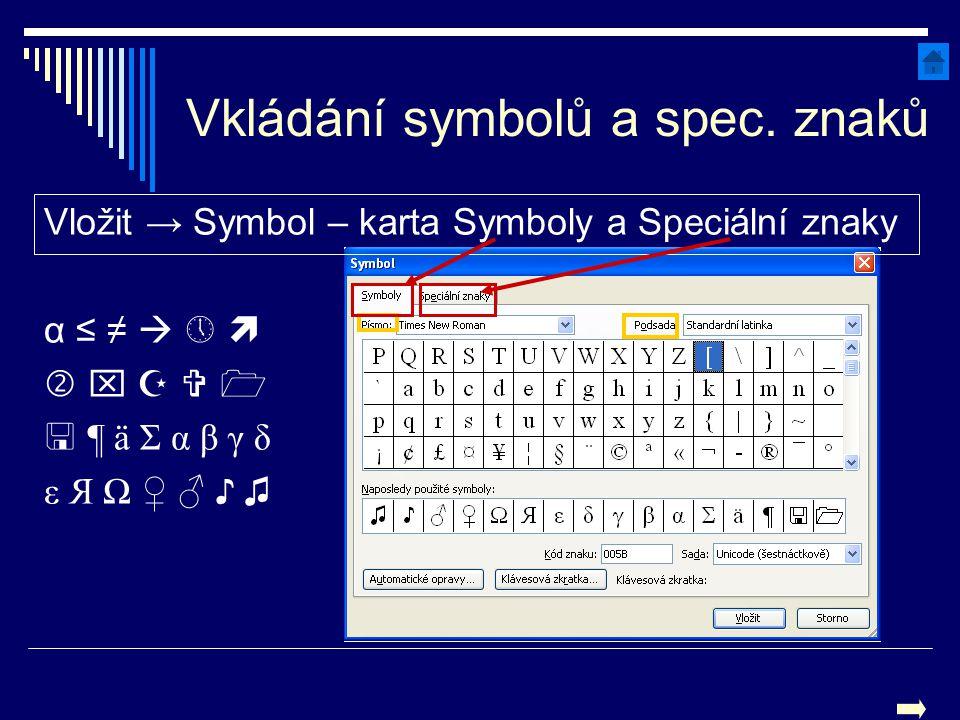 Vkládání symbolů a spec. znaků Vložit → Symbol – karta Symboly a Speciální znaky α ≤ ≠   α ≤ ≠              ¶ ä Σ α β γ δ ¶ ä Σ α β