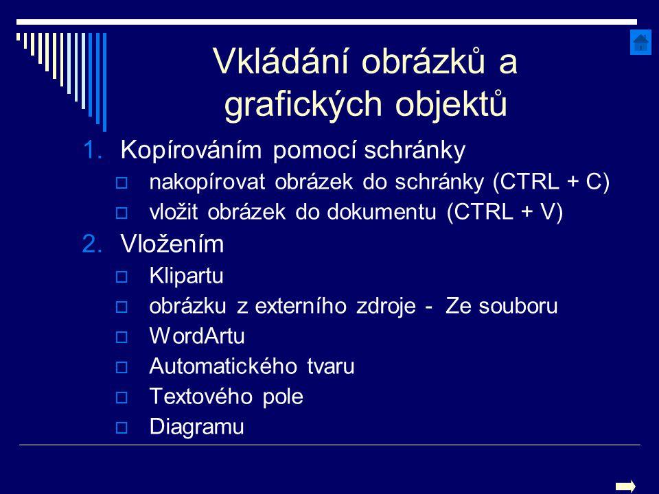Vkládání obrázků a grafických objektů 1.Kopírováním pomocí schránky  nakopírovat obrázek do schránky (CTRL + C)  vložit obrázek do dokumentu (CTRL +