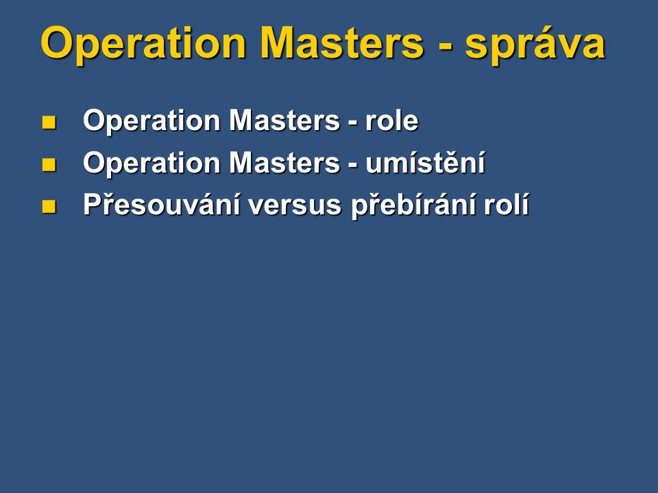 Operation Masters - správa Operation Masters - role Operation Masters - role Operation Masters - umístění Operation Masters - umístění Přesouvání versus přebírání rolí Přesouvání versus přebírání rolí