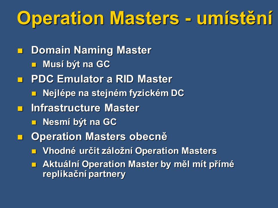 Operation Masters - umístění Domain Naming Master Domain Naming Master Musí být na GC Musí být na GC PDC Emulator a RID Master PDC Emulator a RID Master Nejlépe na stejném fyzickém DC Nejlépe na stejném fyzickém DC Infrastructure Master Infrastructure Master Nesmí být na GC Nesmí být na GC Operation Masters obecně Operation Masters obecně Vhodné určit záložní Operation Masters Vhodné určit záložní Operation Masters Aktuální Operation Master by měl mít přímé replikační partnery Aktuální Operation Master by měl mít přímé replikační partnery