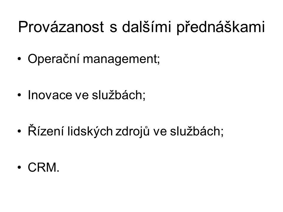 Provázanost s dalšími přednáškami Operační management; Inovace ve službách; Řízení lidských zdrojů ve službách; CRM.
