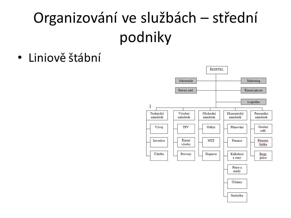Organizování ve službách – střední podniky Liniově štábní
