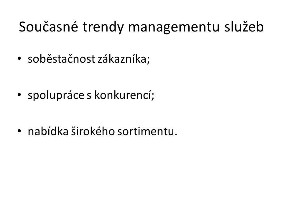 Současné trendy managementu služeb soběstačnost zákazníka; spolupráce s konkurencí; nabídka širokého sortimentu.