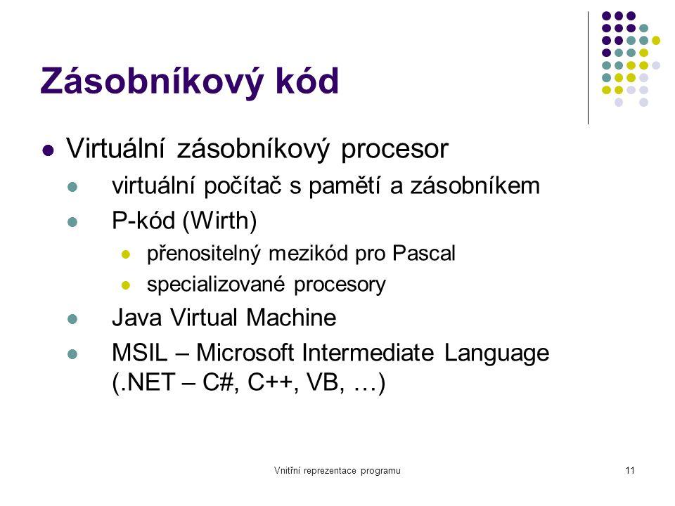 Vnitřní reprezentace programu11 Zásobníkový kód Virtuální zásobníkový procesor virtuální počítač s pamětí a zásobníkem P-kód (Wirth) přenositelný mezikód pro Pascal specializované procesory Java Virtual Machine MSIL – Microsoft Intermediate Language (.NET – C#, C++, VB, …)