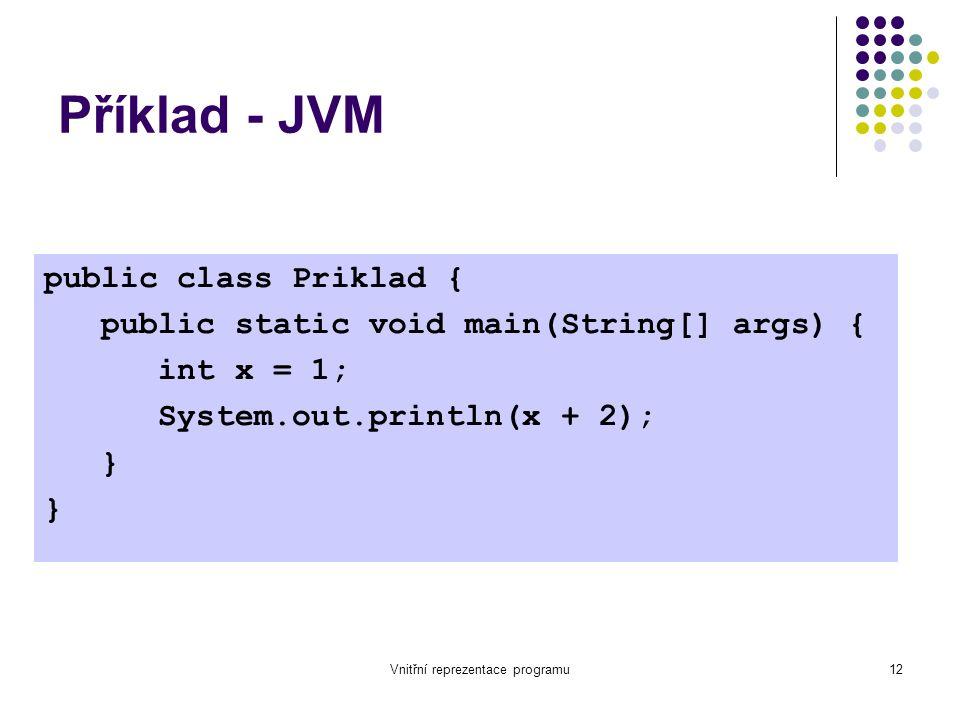 Vnitřní reprezentace programu12 Příklad - JVM public class Priklad { public static void main(String[] args) { int x = 1; System.out.println(x + 2); }