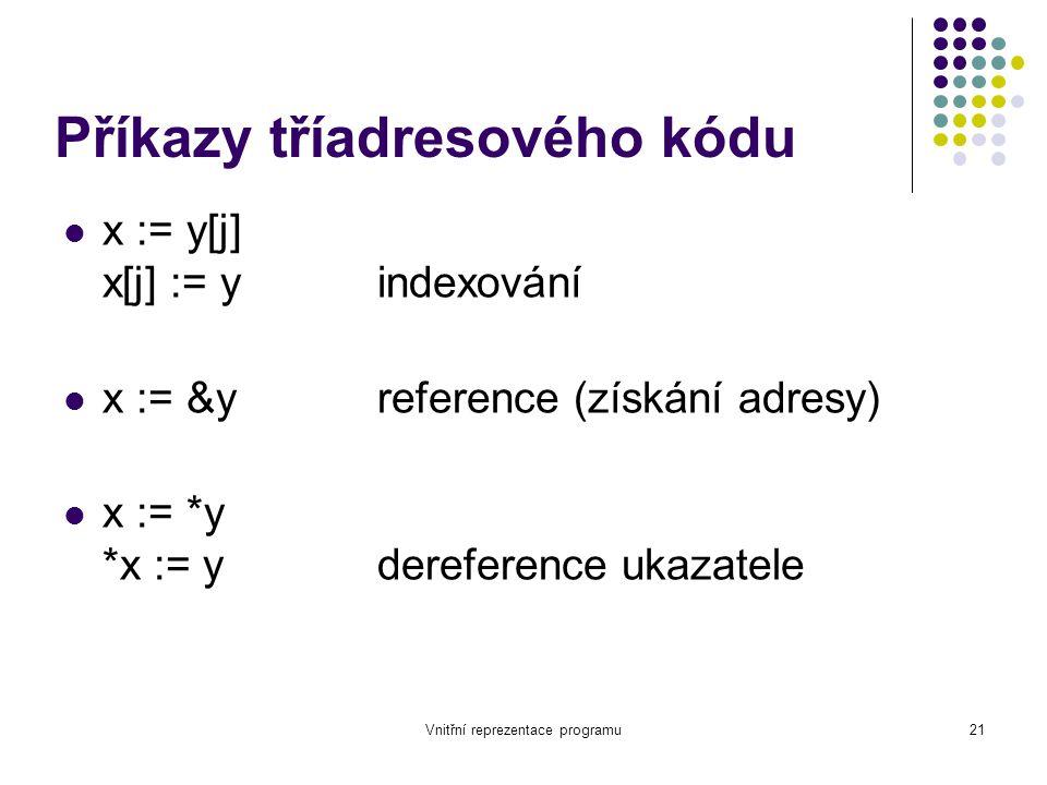 Vnitřní reprezentace programu21 Příkazy tříadresového kódu x := y[j] x[j] := yindexování x := &yreference (získání adresy) x := *y *x := ydereference ukazatele