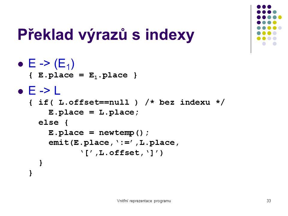 Vnitřní reprezentace programu33 Překlad výrazů s indexy E -> (E 1 ) { E.place = E 1.place } E -> L { if( L.offset==null ) /* bez indexu */ E.place = L.place; else { E.place = newtemp(); emit(E.place,':=',L.place, '[',L.offset,']') } }