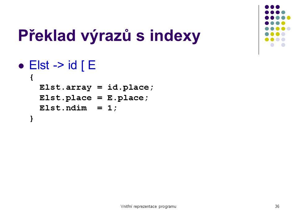 Vnitřní reprezentace programu36 Překlad výrazů s indexy Elst -> id [ E { Elst.array = id.place; Elst.place = E.place; Elst.ndim = 1; }