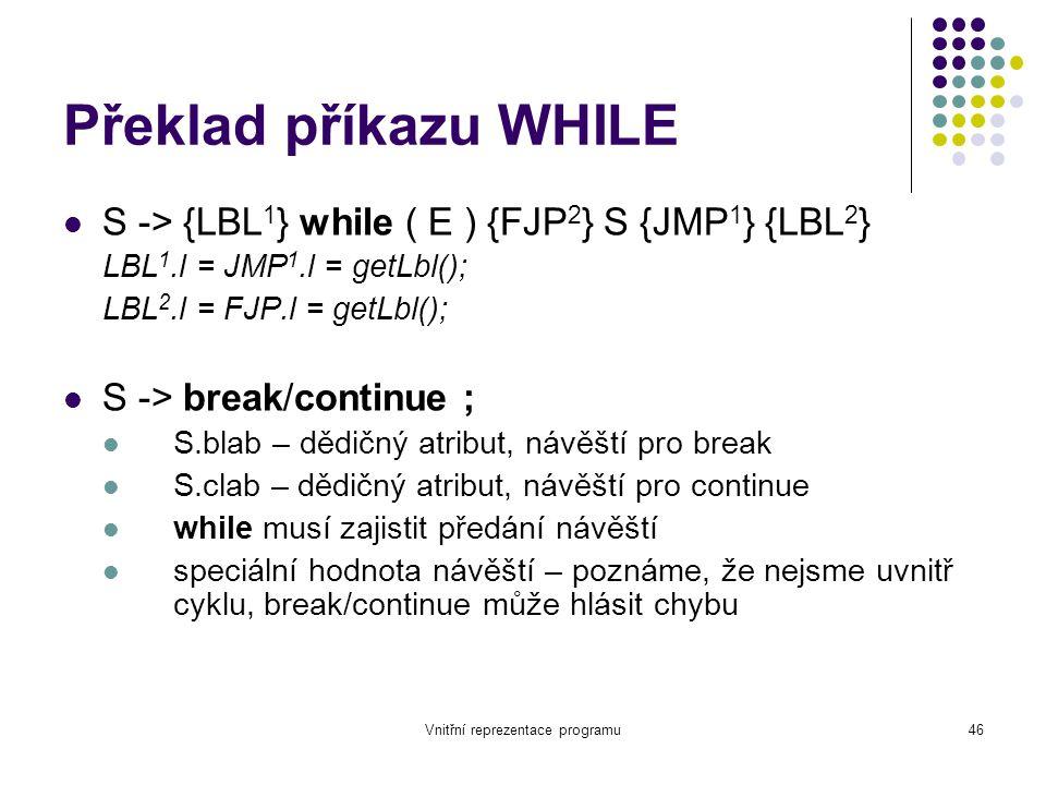 Vnitřní reprezentace programu46 Překlad příkazu WHILE S -> {LBL 1 } while ( E ) {FJP 2 } S {JMP 1 } {LBL 2 } LBL 1.l = JMP 1.l = getLbl(); LBL 2.l = FJP.l = getLbl(); S -> break/continue ; S.blab – dědičný atribut, návěští pro break S.clab – dědičný atribut, návěští pro continue while musí zajistit předání návěští speciální hodnota návěští – poznáme, že nejsme uvnitř cyklu, break/continue může hlásit chybu