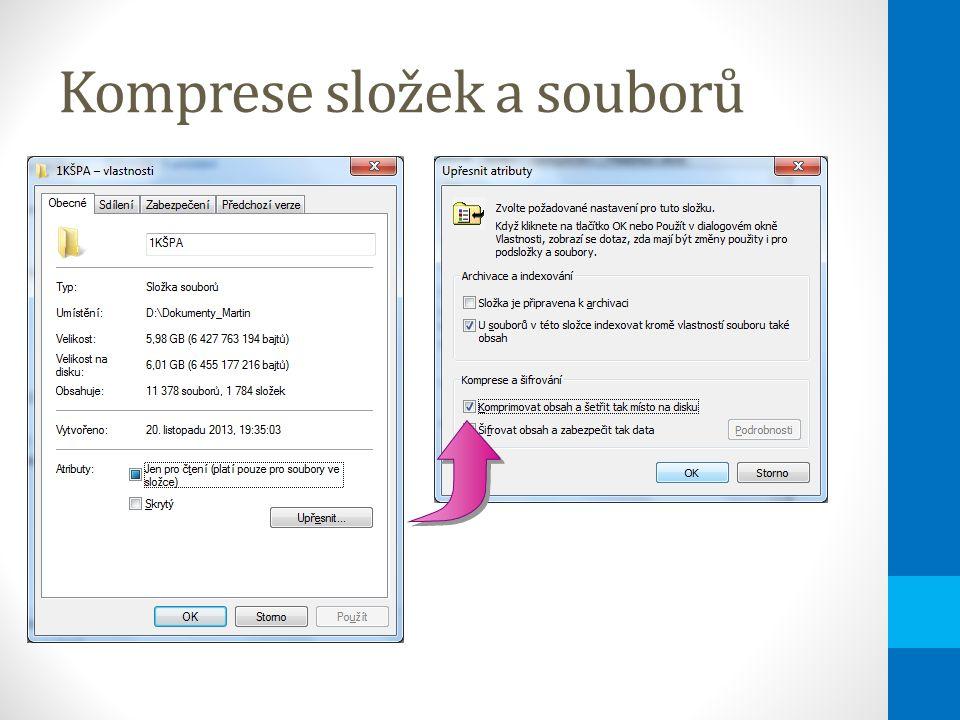 Komprese složek a souborů