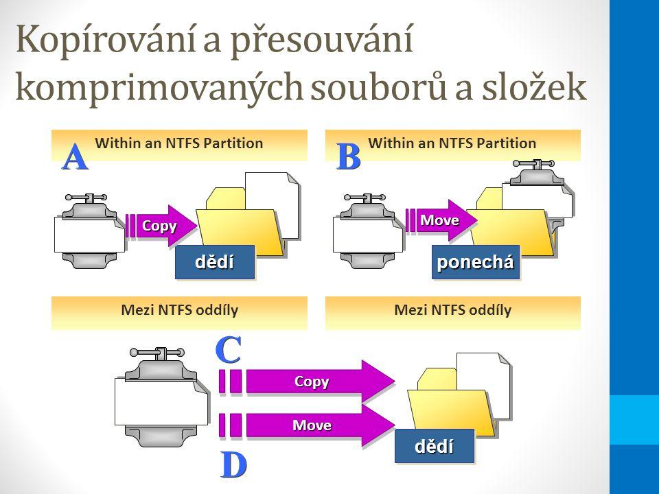 Kopírování a přesouvání komprimovaných souborů a složek Within an NTFS Partition ponecháponechá Inherits dědídědí A ACopyCopy Mezi NTFS oddíly D D B BMoveMove dědídědí C CCopyCopy MoveMove