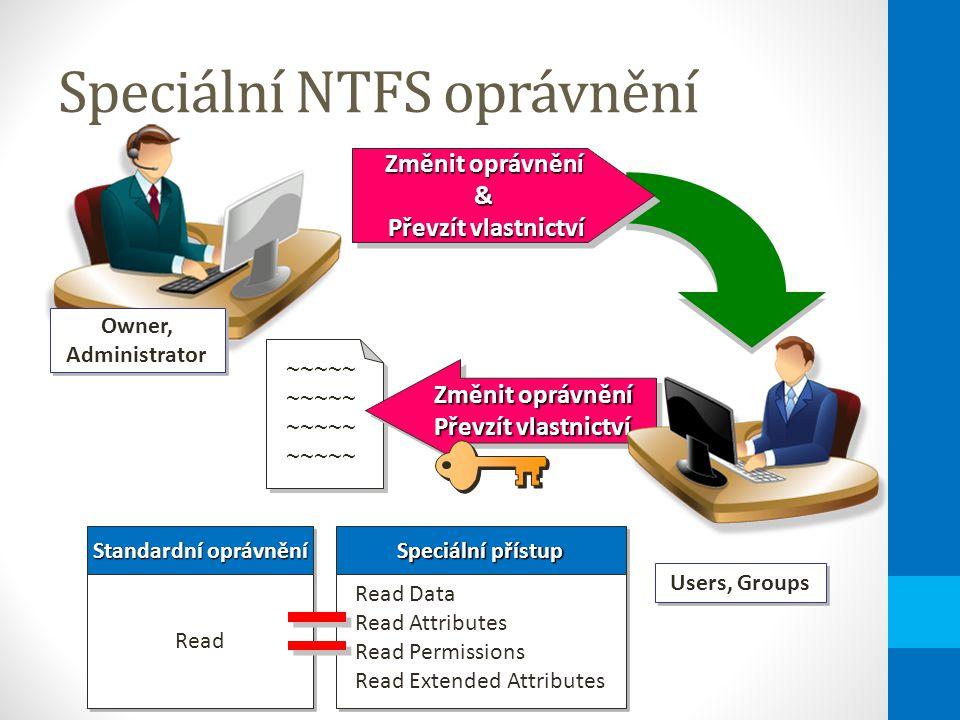 Speciální NTFS oprávnění ~~~~~ ~~~~~ Změnit oprávnění & Převzít vlastnictví Změnit oprávnění & Převzít vlastnictví Users, Groups Změnit oprávnění Převzít vlastnictví Změnit oprávnění Převzít vlastnictví Standardní oprávnění Speciální přístup Read Read Data Read Attributes Read Permissions Read Extended Attributes Read Data Read Attributes Read Permissions Read Extended Attributes Owner, Administrator