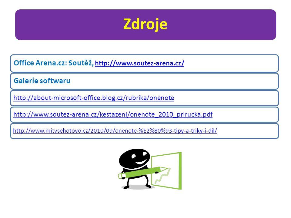 Zdroje Office Arena.cz: Soutěž, http://www.soutez-arena.cz/ http://www.soutez-arena.cz/ Galerie softwaru http://about-microsoft-office.blog.cz/rubrika/onenotehttp://www.soutez-arena.cz/kestazeni/onenote_2010_prirucka.pdf http://www.mitvsehotovo.cz/2010/09/onenote-%E2%80%93-tipy-a-triky-i-dil/