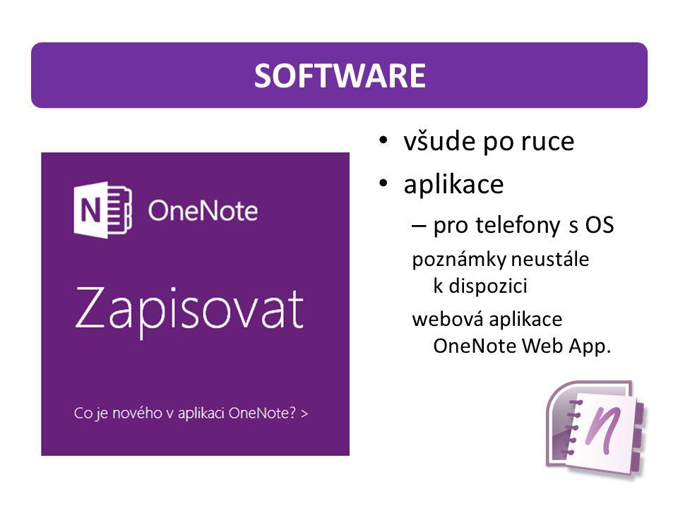 všude po ruce aplikace – pro telefony s OS poznámky neustále k dispozici webová aplikace OneNote Web App.