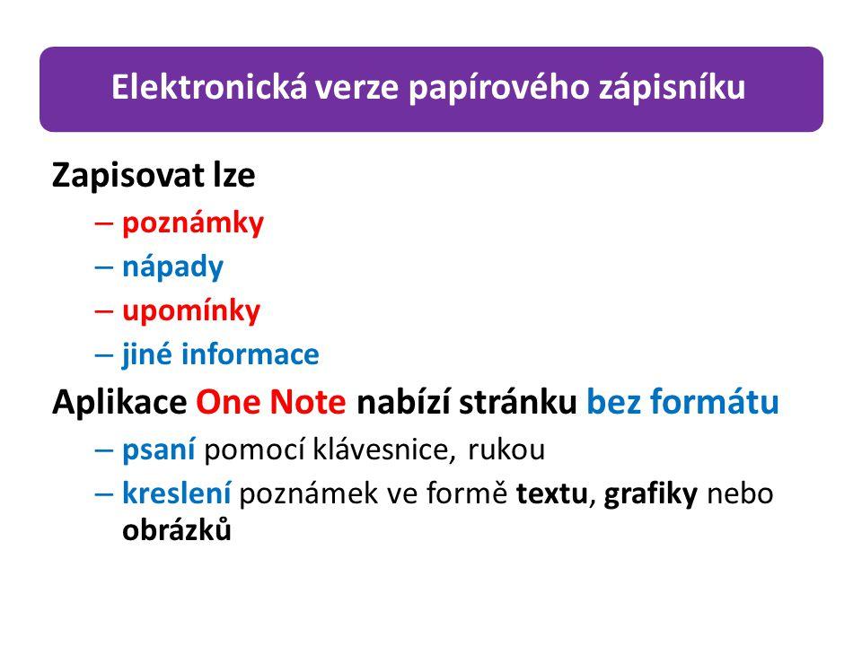 Zapisovat lze – poznámky – nápady – upomínky – jiné informace Aplikace One Note nabízí stránku bez formátu – psaní pomocí klávesnice, rukou – kreslení poznámek ve formě textu, grafiky nebo obrázků Elektronická verze papírového zápisníku