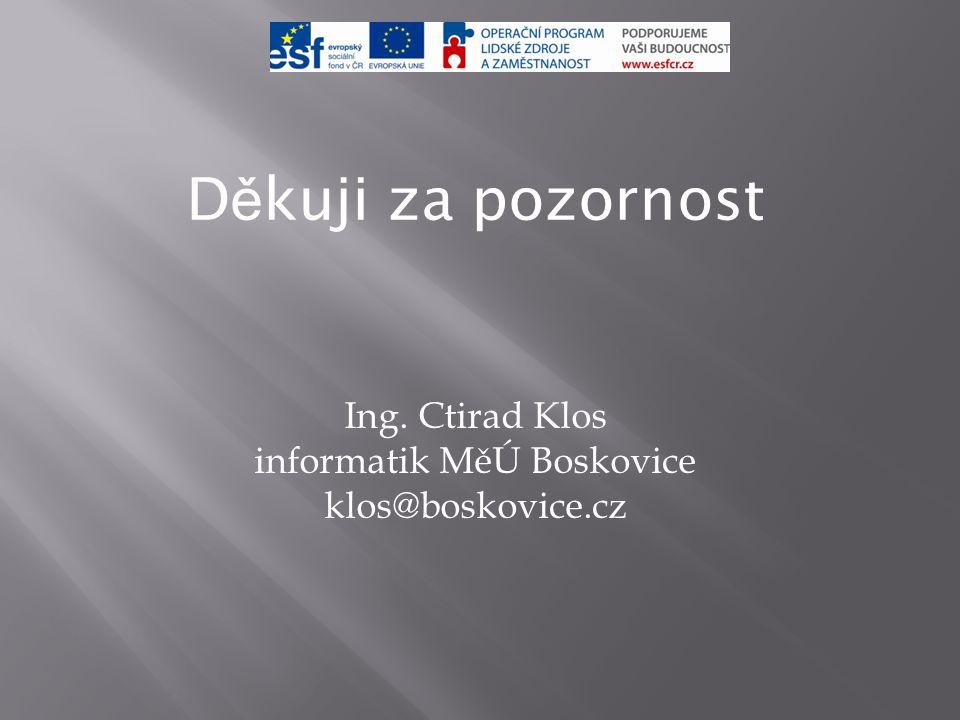 D ě kuji za pozornost Ing. Ctirad Klos informatik MěÚ Boskovice klos@boskovice.cz