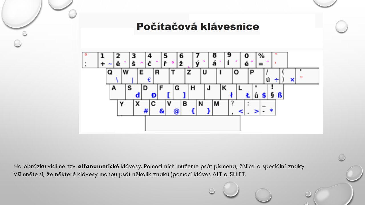 Na obrázku vidíme tzv. alfanumerické klávesy. Pomocí nich můžeme psát písmena, číslice a speciální znaky. Všimněte si, že některé klávesy mohou psát n