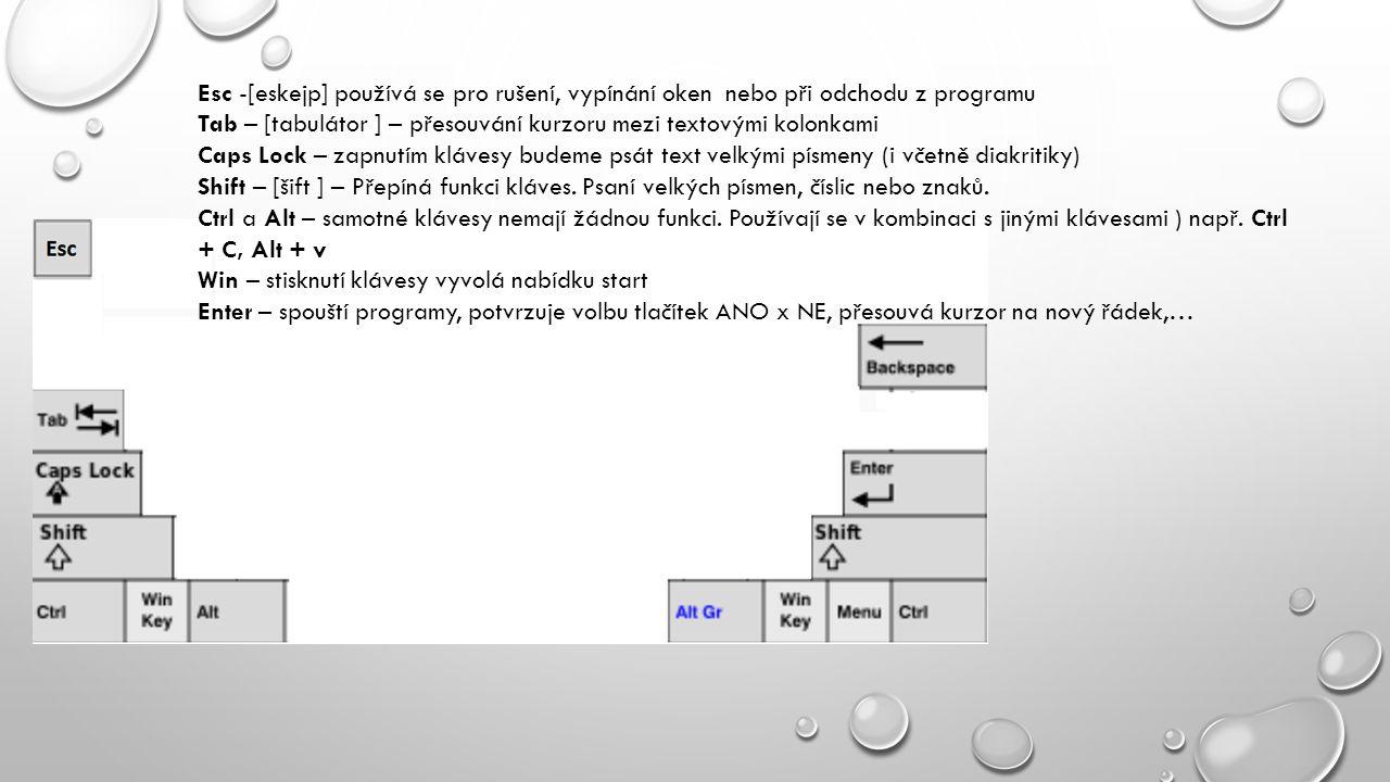 Esc -[eskejp] používá se pro rušení, vypínání oken nebo při odchodu z programu Tab – [tabulátor ] – přesouvání kurzoru mezi textovými kolonkami Caps L