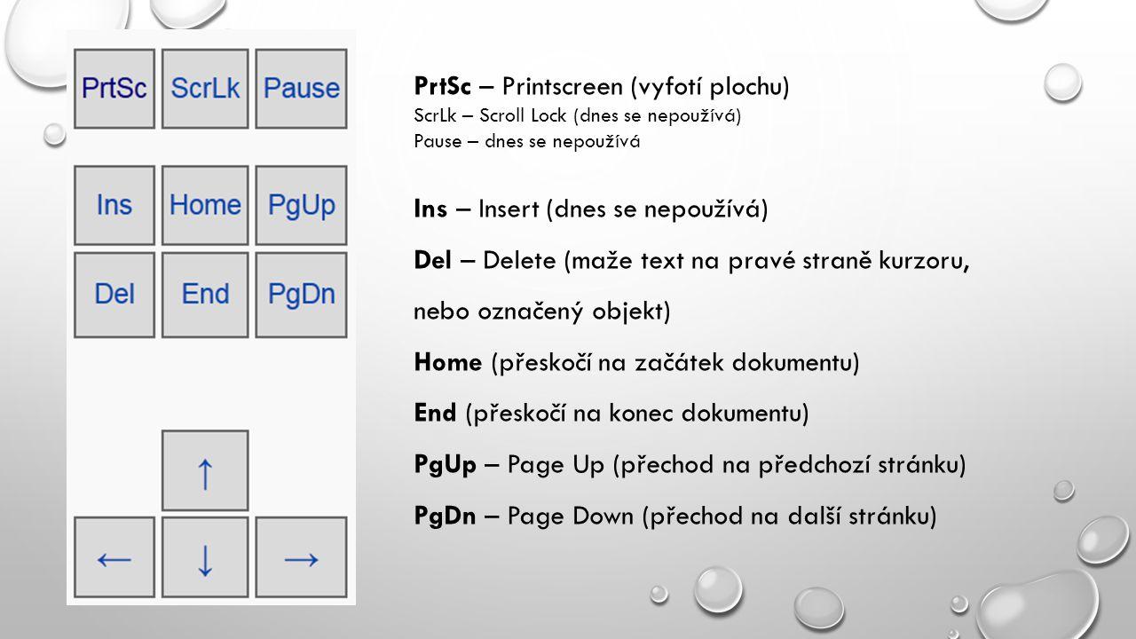 PrtSc – Printscreen (vyfotí plochu) ScrLk – Scroll Lock (dnes se nepoužívá) Pause – dnes se nepoužívá Ins – Insert (dnes se nepoužívá) Del – Delete (m