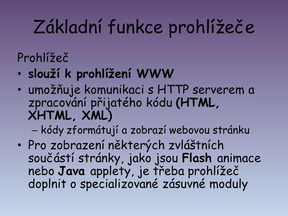 Základní funkce prohlížeče Prohlížeč slouží k prohlížení WWW umožňuje komunikaci s HTTP serverem a zpracování přijatého kódu (HTML, XHTML, XML) – kódy
