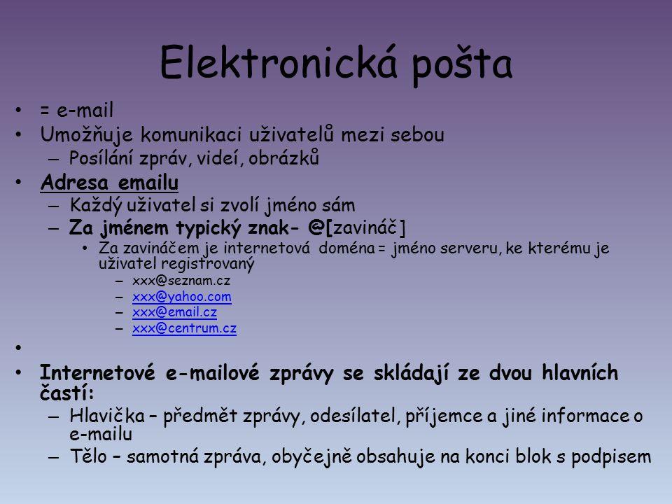 Elektronická pošta = e-mail Umožňuje komunikaci uživatelů mezi sebou – Posílání zpráv, videí, obrázků Adresa emailu – Každý uživatel si zvolí jméno sá
