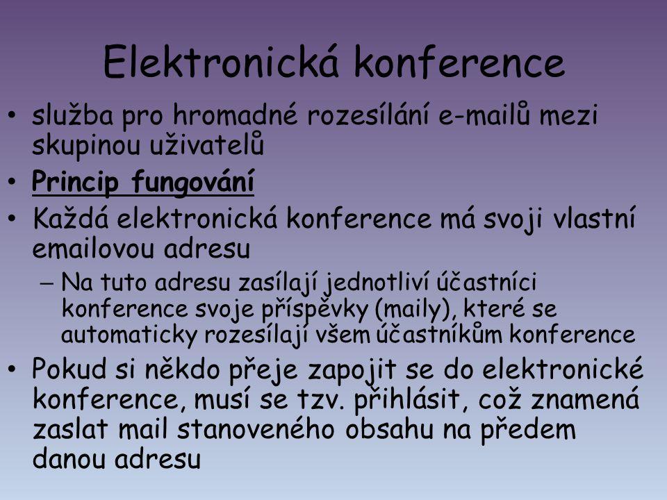 Elektronická konference služba pro hromadné rozesílání e-mailů mezi skupinou uživatelů Princip fungování Každá elektronická konference má svoji vlastn