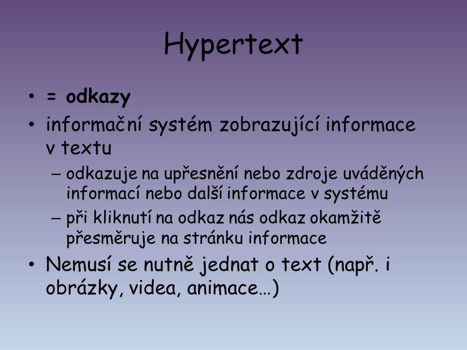 Hypertext = odkazy informační systém zobrazující informace v textu – odkazuje na upřesnění nebo zdroje uváděných informací nebo další informace v syst