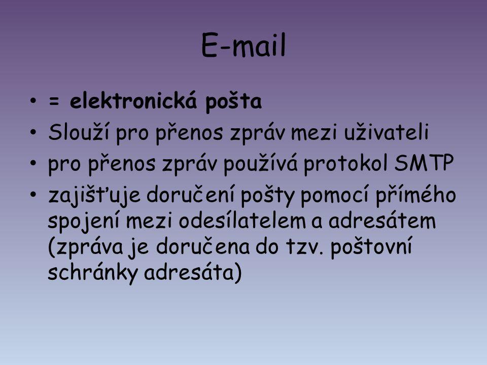 E-mail = elektronická pošta Slouží pro přenos zpráv mezi uživateli pro přenos zpráv používá protokol SMTP zajišťuje doručení pošty pomocí přímého spoj