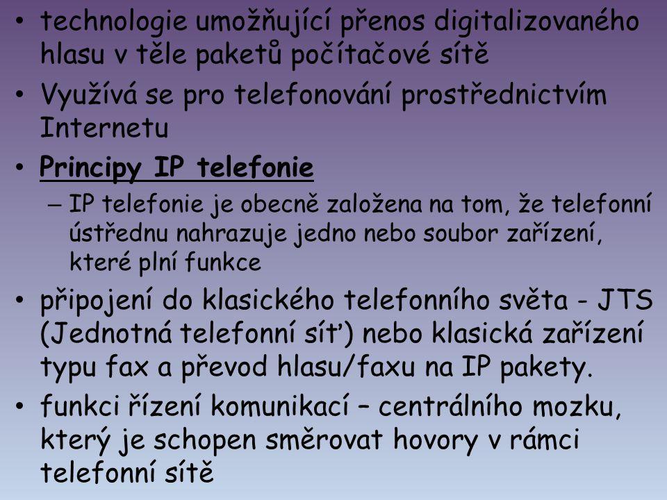 technologie umožňující přenos digitalizovaného hlasu v těle paketů počítačové sítě Využívá se pro telefonování prostřednictvím Internetu Principy IP t