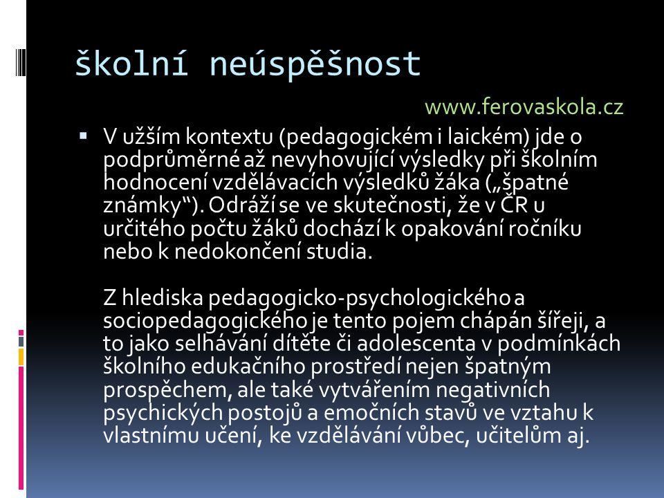 školní neúspěšnost www.ferovaskola.cz  V užším kontextu (pedagogickém i laickém) jde o podprůměrné až nevyhovující výsledky při školním hodnocení vzd