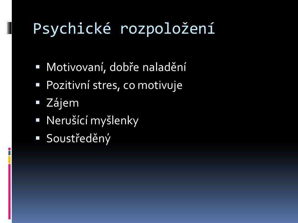 Psychické rozpoložení  Motivovaní, dobře naladění  Pozitivní stres, co motivuje  Zájem  Nerušící myšlenky  Soustředěný