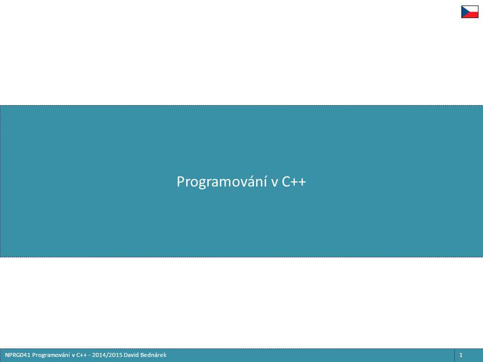 Exception handling  Fáze zpracování výjimky  Vyhodnocení výrazu v příkaze throw  Hodnota je uložena stranou  Stack-unwinding  Postupně se opouštějí bloky a funkce, ve kterých bylo provádění vnořeno  Na zanikající lokální a pomocné proměnné jsou volány destruktory  Stack-unwinding končí dosažením try-bloku, za kterým je catch-blok odpovídající typu výrazu v příkaze throw  Provedení kódu v catch-bloku  Původní hodnota throw je stále uložena pro případné pokračování:  Příkaz throw bez výrazu pokračuje ve zpracování téže výjimky počínaje dalším catch-blokem - začíná znovu stack-unwinding  Zpracování definitivně končí opuštěním catch-bloku  Běžným způsobem nebo příkazy return, break, continue, goto  Nebo vyvoláním jiné výjimky