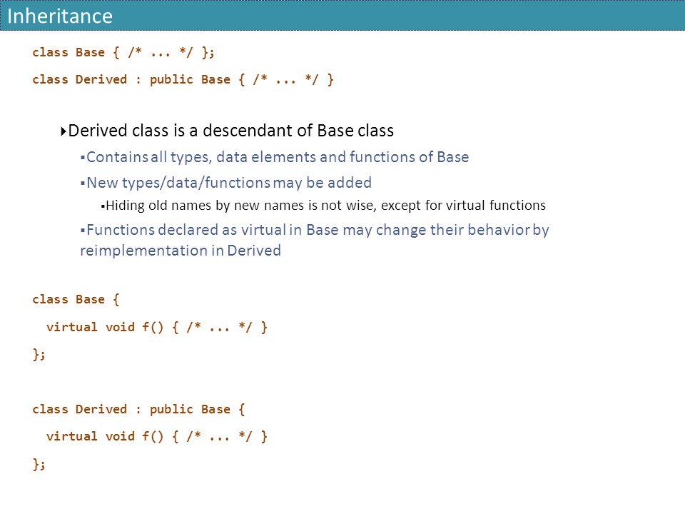 Inheritance class Base { /*... */ }; class Derived : public Base { /*... */ }  Derived class is a descendant of Base class  Contains all types, data