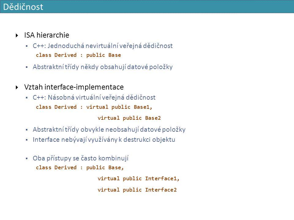 Dědičnost  ISA hierarchie  C++: Jednoduchá nevirtuální veřejná dědičnost class Derived : public Base  Abstraktní třídy někdy obsahují datové položk