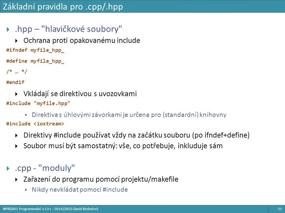 Základní pravidla pro.cpp/.hpp 51NPRG041 Programování v C++ - 2014/2015 David Bednárek .hpp –