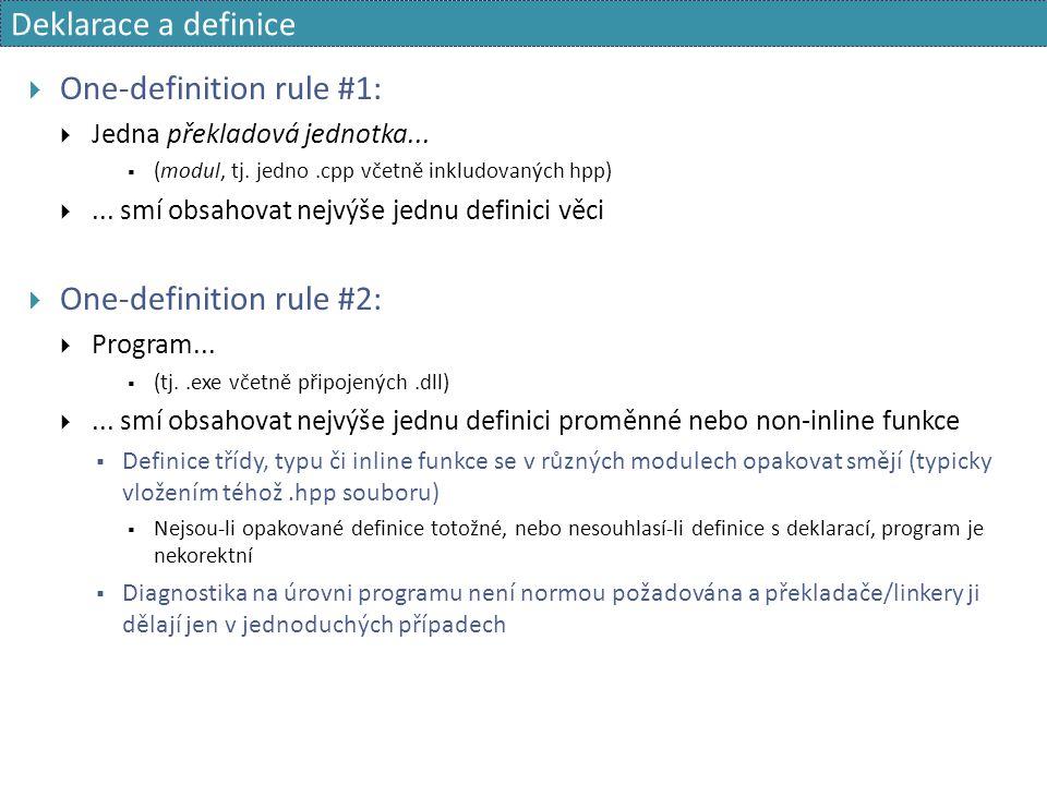Deklarace a definice  One-definition rule #1:  Jedna překladová jednotka...  (modul, tj. jedno.cpp včetně inkludovaných hpp) ... smí obsahovat nej